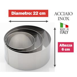 COPPAPASTA CERCHIO LISCIO INOX DIAM. 22cm x 6h.