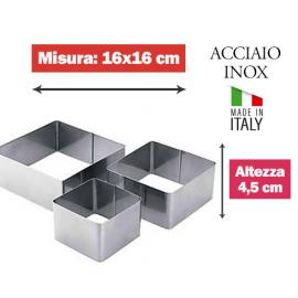 COPPAPASTA QUADRATO INOX 16x16cm x 4,5h.