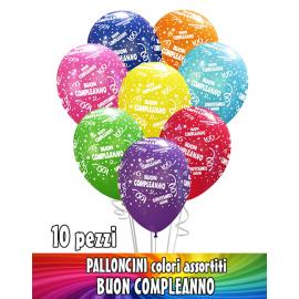 PALLONCINI BUON COMPLEANNO colori assortiti - Pz.10 - ø cm.30