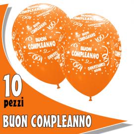PALLONCINI BUON COMPLEANNO arancioni - Pz.10 - ø cm.30