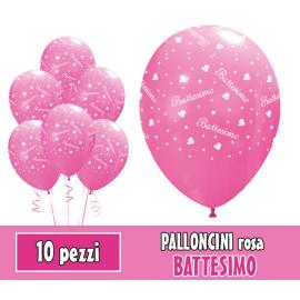 PALLONCINI BATTESIMO ROSA - Pz.10 - ø cm.30