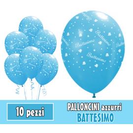 PALLONCINI BATTESIMO AZZURRO - Pz.10 - ø cm.30