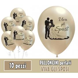 PALLONCINI VIVA GLI SPOSI PERLATI - Pz.10 - ø cm.30