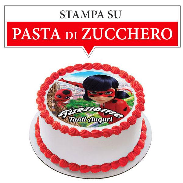 Cialda Foglio di Pasta di Zucchero con Ladybug Miraculous Tonda Personalizzabile