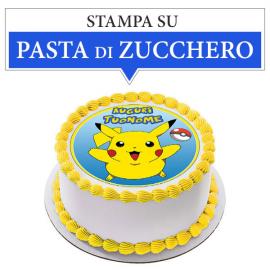 Cialda personalizzata Pokemon tonda (stampa su pasta di zucchero)