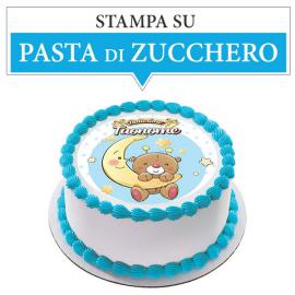 Cialda personalizzata BATTESIMO AZZURRO tonda (stampa su pasta di zucchero)