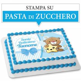 Cialda personalizzata BATTESIMO AZZURRO rettangolare (stampa su pasta di zucchero)