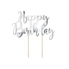CAKE TOPPER HAPPY BIRTHDAY ARGENTO 22,5 cm