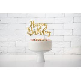 CAKE TOPPER HAPPY BIRTHDAY ORO 22,5 cm