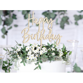 CAKE TOPPER HAPPY BIRTHDAY IN LEGNO NATURALE 16,5 cm