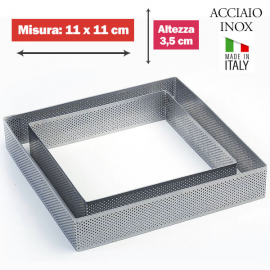 FASCIA MICROFORATA QUADRATA (acciaio inox) DIM. 11x11cm x 3,5cm h.