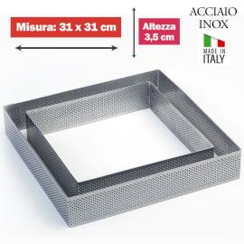 FASCIA MICROFORATA QUADRATA (acciaio inox) DIM. 31x31cm x 3,5cm h.