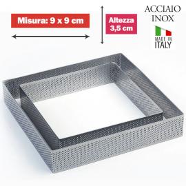 FASCIA MICROFORATA QUADRATA (acciaio inox) DIM. 9x9cm x 3,5cm h.