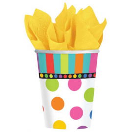 BICCHIERI RAINBOW HAPPY BIRTHDAY - 8 Pz.