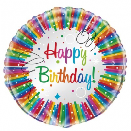 PALLONCINO MYLAR - FOIL RAINBOW HAPPY BIRTHDAY - 45cm