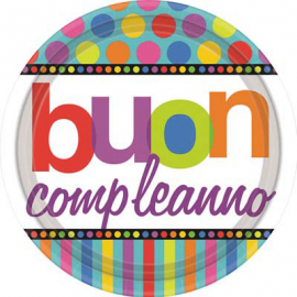 PIATTI RAINBOW HAPPY BIRTHDAY 23cm - 8 Pz.