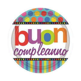 PIATTINI RAINBOW HAPPY BIRTHDAY 18cm - 8 Pz.