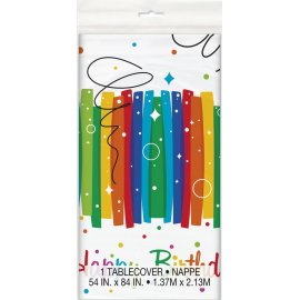 TOVAGLIA IN PLASTICA RAINBOW HAPPY BIRTHDAY 2,13x1,37 mt