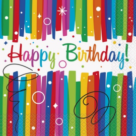 TOVAGLIOLI RAINBOW HAPPY BIRTHDAY 33x33cm - 16 Pz.