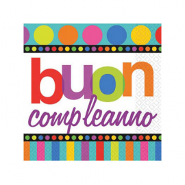 TOVAGLIOLINI RAINBOW HAPPY BIRTHDAY 25x25cm - 16 Pz.