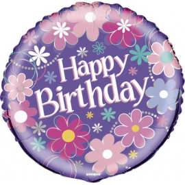PALLONCINO MYLAR - FOIL HAPPY BIRTHDAY FLOWERS - 45cm