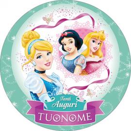 Cialda personalizzata PRINCIPESSE tonda (pasta di zucchero)