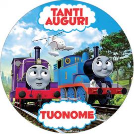 Cialda personalizzata TRENINO THOMAS tonda (stampa su pasta di zucchero)