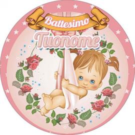 Cialda personalizzata BATTESIMO ROSA tonda (stampa su pasta di zucchero)