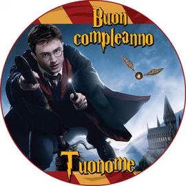Cialda personalizzata Harry Potter tonda (stampa su pasta di zucchero)