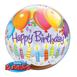PALLONCINO BUBBLE HAPPY BIRTHDAY - BALL & CANDLES ø 56cm