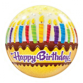 PALLONCINO BUBBLE HAPPY BIRTHDAY - CANDLES ø 56cm