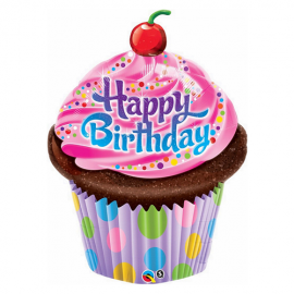 PALLONCINO HAPPY BIRTHDAY CUPCAKE FOIL SUPERSHAPE QUALATEX 89cm