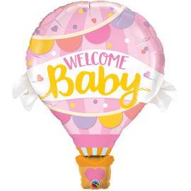 PALLONCINO MONGOLFIERA BABY GIRL FOIL SUPERSHAPE 107cm