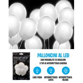 PALLONCINI LED BIANCHI - Pz.5 - ø cm.30 con 3 intermittenze diverse