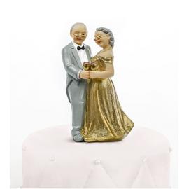CAKE TOPPER ROMANTICO - ANNIVERSARIO GOLD 12cm
