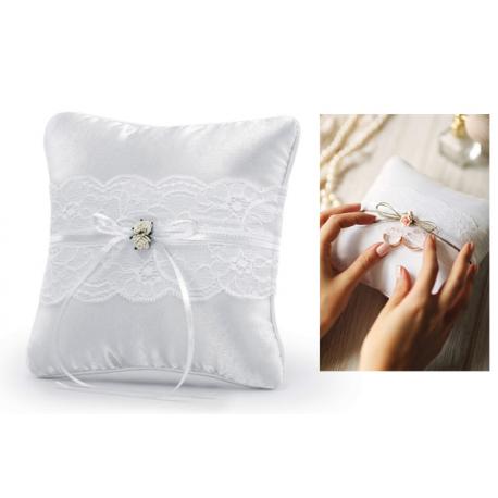 Cuscini Per Fedi Matrimonio.Cuscino Per Fedi Nuziali 16x16cm Pizzo Bianco